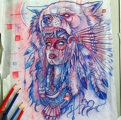 Native American Girl with Wolf Headdress, Love this artwork so much maybe even get it as a tattoo! xD