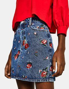 Floral embroidered denim skirt - Berhska #floral #embroidered #denim #skirt #bershka