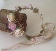 Little girl dried Flower crown Vintage style dusty von AmoreBride