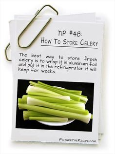 How to store celery in the refrigerator and make it last for weeks! #tips #healthyeating