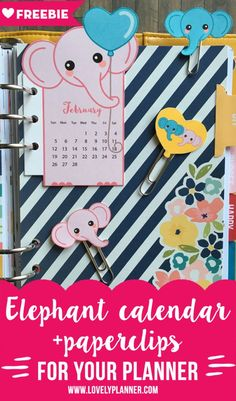 FREE Printable Pink Elephant calendar divider with matching paperclips to decorate your planner.