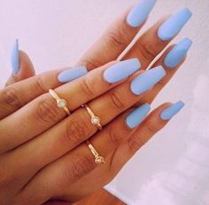 Baby blue matte nails & mid finger rings