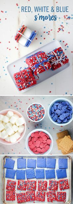 """If the """"colors"""" of summer are red, white, and blue, why not extend the theme to that classic summertime treat — s'mores? All you need are five ingredients! Just dip your graham crackers in either red or blue candy melts and decorate with colored sprinkles. Tie them up and let your guests help themselves! These 4th of July S'mores will look so festive at your party!"""