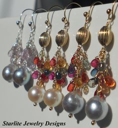 Jewelry ~ Sapphire Earrings ~ Baroque Pearls ~ by www.StarliteJewelryDesigns.com