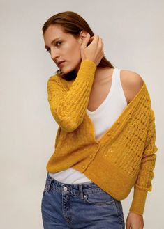 Latest trends in women's fashion. Discover our designs: dresses, tops, jeans, coats and shirts. Mango Outlet, Shirts & Tops, Pullover, Knit Cardigan, Knitted Fabric, Cable Knit, Latest Trends, Knitting, Coat