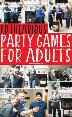 hilarious party games for adults that would work great for teens or for group. 10 hilarious party games for adults that would work great for teens or for group. - hilarious party games for adults that would work great for teens or for group. Party Games Group, Party Activities, Couple Party Games, Indoor Party Games, Dinner Party Games, Outside Party Games, Party Games For Ladies, Teamwork Activities, Office Party Games