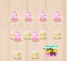 Toppers de cupcake Peppa bailarina partido por BirthdayPartyBox