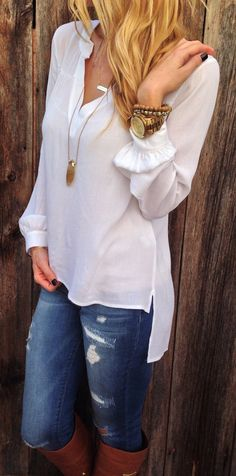 #cute #outfits White Sheer Blouse // Ripped Skinny Jeans // Camel Riding Boots