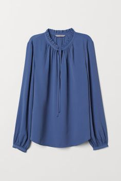Blouse with a frilled collar - Dusky blue - Ladies Casual Tops For Women, Blouses For Women, Ladies Tops, Blouse Styles, Blouse Designs, Evening Dresses Online Shopping, White Bootcut Jeans, Bright Pink Dresses, Blue Dresses