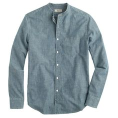 Wallace & Barnes band-collar Japanese selvedge chambray shirt - shirts - Men's New Arrivals - J.Crew