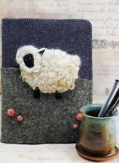 Sheep Felted Journal Cover by NancysFancyFibers on Etsy