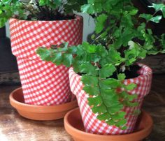 red gingham fabric flower pots