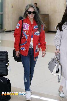 Hyoyeon Airport Fashion #NewHair #SNSD