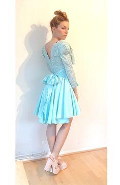 True Vintage Pailletten Kleid Creasy Grease Schulterpolster 36 38 40 türkis - kleiderkreisel.de