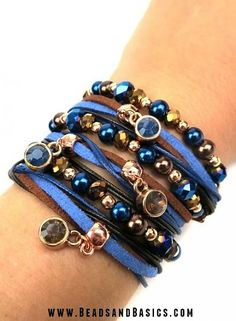 Wrap Bracelet Blue With Brown - Boho  DIY + Materials to make your own at www.beadsandbasics.com