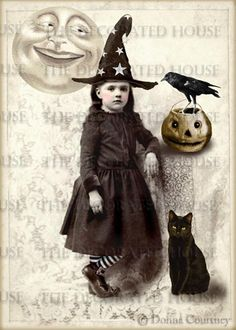 HALLOWEEN Little Vintage Witch Art Print. EMILY GRACE. Altered Antique Photo. 5 x 7 in. by The Decorated House,
