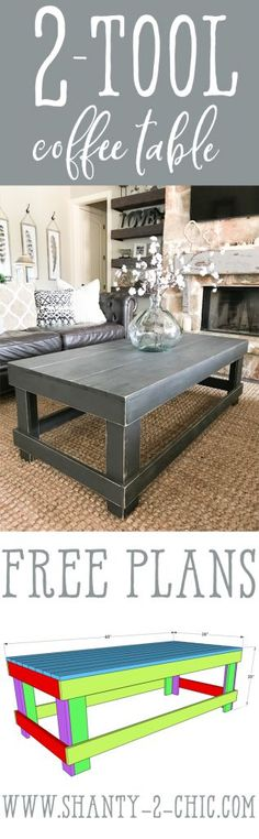 Build this DIY Coffee Table with only two tools and thirteen 1x4 boards! #freeplans #tutorial #coffeetable