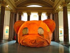 'the body and ground (or your lovely smile)' tented bear head sculpture by brian griffiths