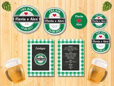 Kit para Chá Bar, Tema Heineken - Digital.  O kit pode ser personalizado também para aniversário.    O kit contém:  1 Convite frente e verso  1 Cardápio frente e verso  1 Rótulo para lembrancinha  2 Toppers para doces  1 Rótulo para garrafa long neck    Enviamos os arquivos em PDF e JPEG em alta ...