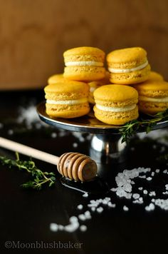 Anything but…./-/ Lemon macarons with salted honey and thyme buttercream.   The moonblush Baker