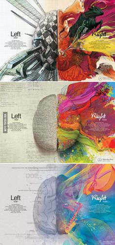 Brain - Right Brain Left Brain - Right Brain. Now I know why every test I've taken indicates I'm right brain.Left Brain - Right Brain. Now I know why every test I've taken indicates I'm right brain. Graphisches Design, Graphic Design, Game Design, Creative Design, Creative Ideas, Left Brain Right Brain, Beautiful Mind, Beautiful Pictures, Art Plastique
