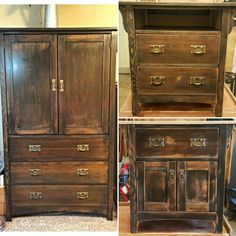 Made these two nightstands on the right by using  the wood I salvaged from this armoire on the left