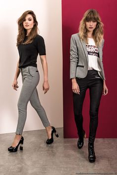 Grey blazer, white txt shirt, blc leather pants