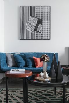 Indigo blue is one of the biggest colour trends of In interior design, this bright shade of blue can be used to create a clean statement. Mid-century Interior, Interior Design, Modern Hotel Lobby, Hotel Room Design, Hotel Decor, Modern Chandelier, Modern Lighting, Deco Furniture, Modern Decor