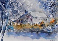 """watercolor old mill"" - Original Fine Art for Sale - © pol ledent"