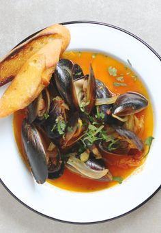FRESH MUSSELS IN A CORIANDER, SAFFRON & TOMATO BROTH. This stew will ...