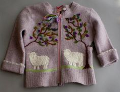 Girl's recycled needle felted sweater with by FTCscreendoorstudios, $150.00