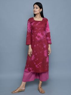 Maroon Tie and Dye Cotton Straight Kurta with Mauve Culottes - Set of 2