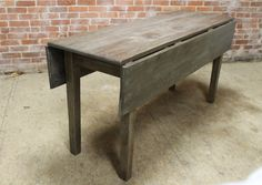 gorgeous rustic reclaimed oak drop leaf table. built by hand from by ecustomfinishes.com