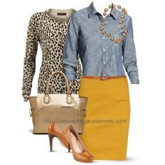 Chambray with yellow...add that leopard and sassy is the name of the game kids:):