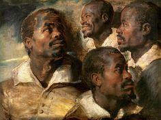 Four Studies of a Head of a Moor - Peter Paul Rubens 1640