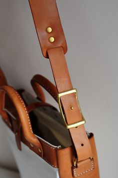 Hand Stitched Brown Leather And Canvas Shoulder Bag/ Tote Bag. $150.00, via Etsy.