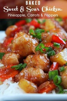 The BEST Sweet and Sour chicken - takeout OR homemade -  I have ever had in my entire life! It is also baked with pineapple, carrots, onions and bell peppers all in ONE BAKING DISH!  No need to stir fry extra veggies!  | Carlsbad Cravings by janetlooksgood