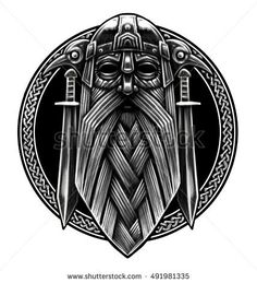 Norse God Odin with crows and swords. Graphic illustration in the ring. Viking Warrior - buy this illustration on Shutterstock & find other images. Viking Warrior Tattoos, Warrior Symbols, Viking Symbols, Norse Tattoo, Celtic Tattoos, Armor Tattoo, Escudo Viking, Art Viking, Tattoo Caveira