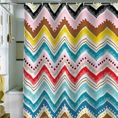 Khristian A Howell Nolita Chevrons Shower Curtain  $89.00 USD  < Previous Product | Next Product >  Khristian A Howell Nolita Chevrons     Lots of color would go with any type of towel set we could ever buy!