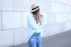 hat-fedora-creme-black-blue-light-colors-long-sleeve-shirt-boyfriend-cut