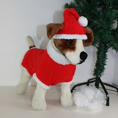 This is my Dog Christmas Santa Hat and Coat CIRCULAR knitting pattern. Every dog would look fantastic in this fun Christmas outfit. The hat is worked in the round on 3 mm needles and the coat is worked in the round on 3.75 mm needles in ANY dk yarn of your choice as long as its red and white. The knitting pattern provides full instructions for 4 dog sizes S ( e.g. chihuahua) , M ( e.g. Jack Russell), L ( e.g. Bulldog or Beagle), & XL ( e.g. Dalmation or Labrador) so can be made for almost...