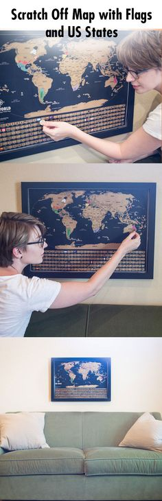 Scratch Off Map Of The World - Black & Gold World Travel Tracker Map ® - h) x 24 (w) inches - Scratch Off World Map Poster - Perfect Gift for Travelers