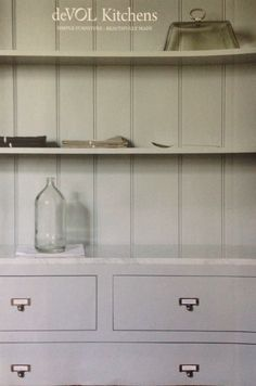 Kitchen shelves with white bead board