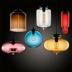 Bocal coloré lustres en verre de cru Nordic IKEA créative Cafe Restaurant Les comptoirs de bar Pendentif Verre