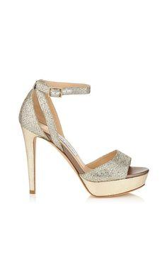 d62b086515dddf Jimmy Choo Kayden Champagne Glitter Fabric Platform  Sandals  RTW Brown  Sandals