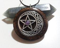 Pentacle and Moon Pendant with Amethyst in Burnt Oak, Free Shipping Worldwide,spiritual jewelry, Pagan, Wicca Jewelry, Pentacle and Moon by OurArtyCreations on Etsy