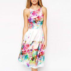 Colorful Cutout Floral Sleeveless A-Line Pleated Midi Dress