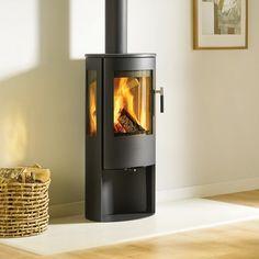 Lotus Mira woodburning stove.   #lotus #woodburner #stove #logstore #modern #contemporary #freestanding #kernowfires #redruth #wadebridge #cornwall