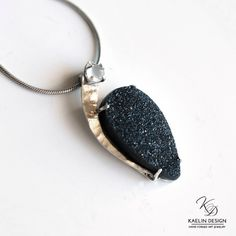 Dark of the Moon Black Druzy and White Moonstone pendant