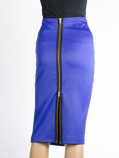 Kokerrok Blauw met zwarte rits Designed by Tubino - Deze rok is er om al je glamour momenten te onderstrepen.